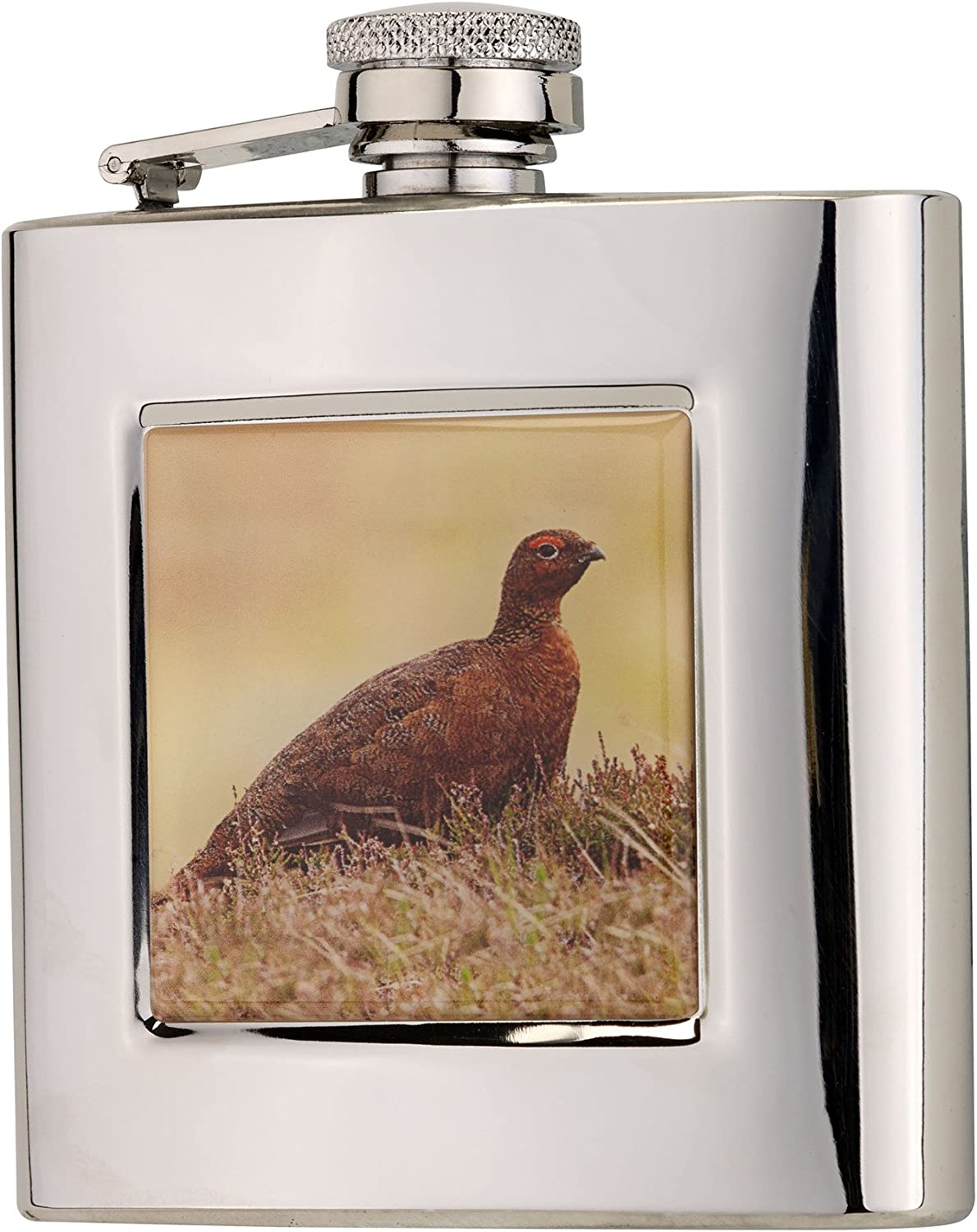 6oz Square Grouse Flask in Presentation Box by Bisley
