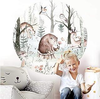 Little Deco DL562 Sticker mural décoratif pour chambre d'enfant Motif animaux ours, cerf 120 cm