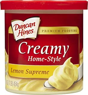 DUNCAN HINES CREAMY HOMESTYLE LEMON SUPREME READY TO SPREAD FROSTING PLASTIC TUB RP 16 OZ - 0644209405001