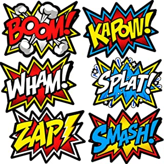 Bigtime Signs Large Superhero Word Cutouts - Birthday Party Supplies Wall Decoration Signs - 12 inches x 16 inches - 12 pcs Light Cardboard Super Hero Cut Words, Sayings, Sounds