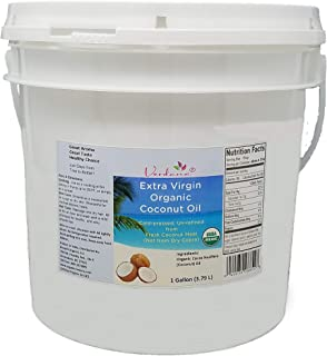 Verdana Pure Extra Virgin Organic Coconut Oil, USDA NOP Certified Organic, Unrefined, Cold Pressed, Food Grade, for Baking, Cooking, Popcorn, for Hair, Skin, Heels – 1 Gallon, 32 Fl Oz, 16 Fl Oz