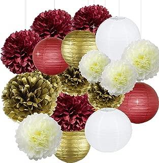 Bridal Shower Christmas Xmas Decorations 18pcs Burgundy Cream White Gold Birthday Decorations Tissue Paper Pom Pom and Paper Lanterns Photo Backdrop Wedding/Bachelorette Party Decorations