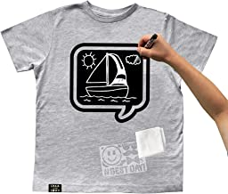 Chalk of the Town Chalkboard T-Shirt Kit for Kids - Short Sleeve Grey Speech Bubble with 1 Chalk Marker and Stencil (Youth Extra-Small)