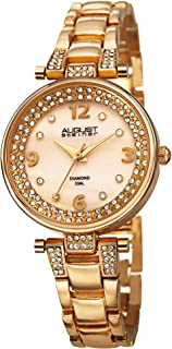 August Steiner Women's Dress Watch With Crystal Bezel and Lugs - Mother of Pearl Diamond Dial with Big Number Hour Markers...