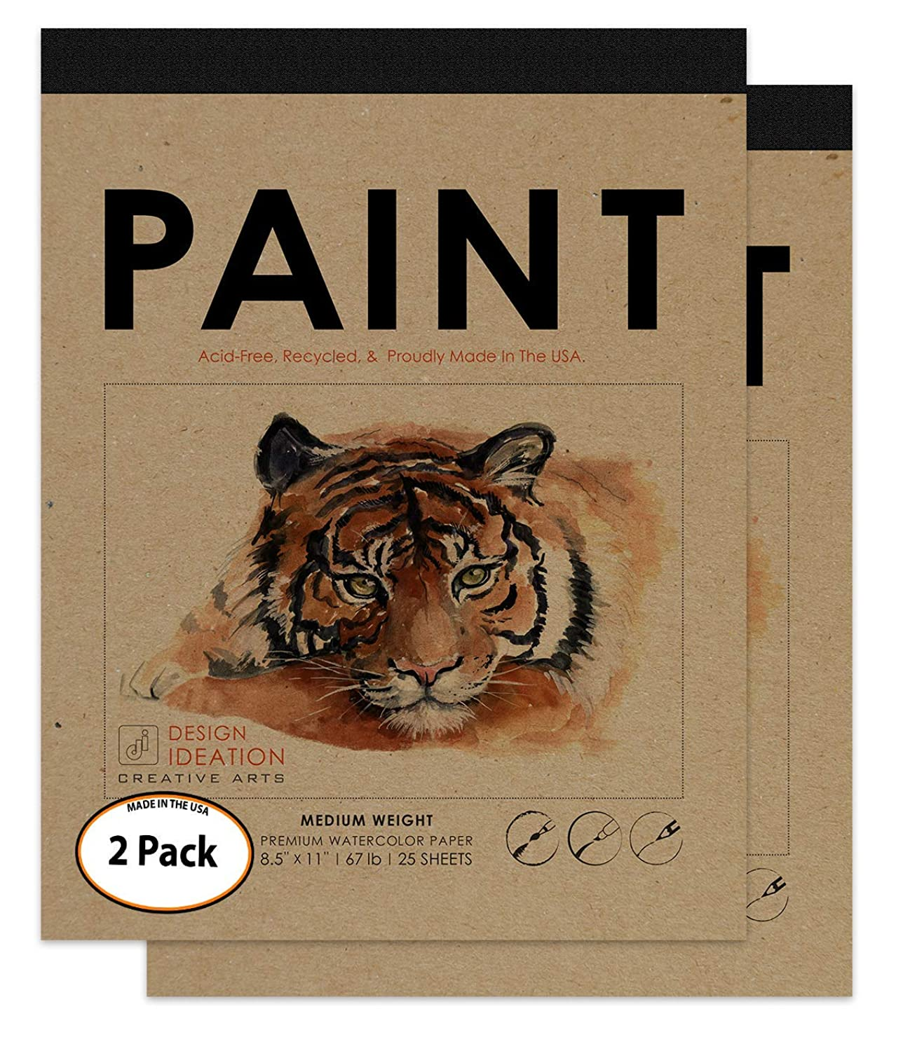 Design Ideation PAINT : Premium Paper Watercolor Pad for Pencil, Ink, Marker and Watercolor Paints. Great for Art, Design and Education. (2 Pads)