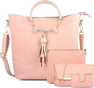 Shining Star Women's Cream Handbag With Sling Bag & Clutch,Card Holder (Set of 4)