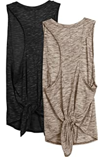 icyzone Workout Tank Top for Women - Tie Back Activewear Exercise Athletic Yoga Tops Running Gym Shirts(Pack of 2)
