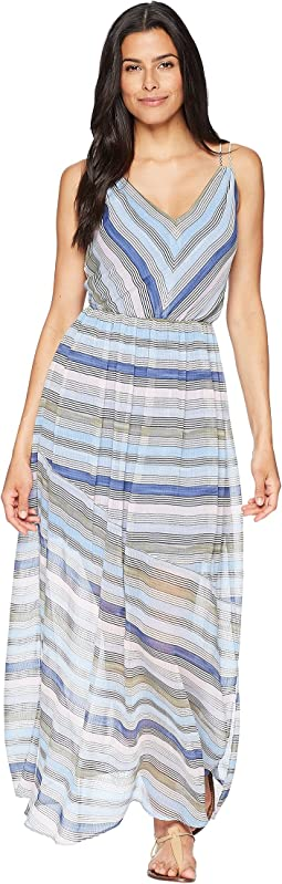 CeCe Jordan - Sleeveless V-Neck Striped Maxi