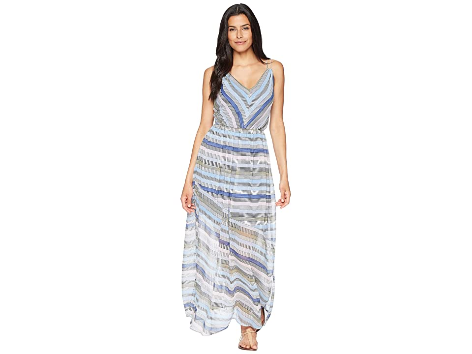 CeCe Jordan Sleeveless V-Neck Striped Maxi (Rainfall) Women