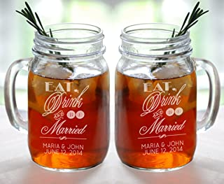Eat Drink and Be Married Set of 2 Personalized Mason Jars Drinking Mugs with Handle Mr and Mrs Custom Etched with Name and Date for Wedding, Engagement Anniversary Bridal Party Gift of Favor for Newlyweds Couple Etched Laser Engraved His and Hers Couple Gift Idea Barn Wedding Theme for Couple (16 Oz)