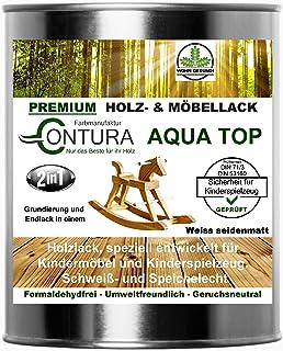 Weisslack für Kinderspielzeug und Kindermöbel 750ml. DIN EN71/3 Speichelecht schweißecht Weiss Möbellack Holzlack SEIDENMATT