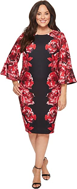 Plus Size Print Scuba Crepe Sleeve Dress