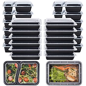 Stackable Fitpacker DUO 2 Compartment Meal Prep Containers Reusable with Lids Set of 7 Bento Lunch Box Microwave and Dishwasher Safe