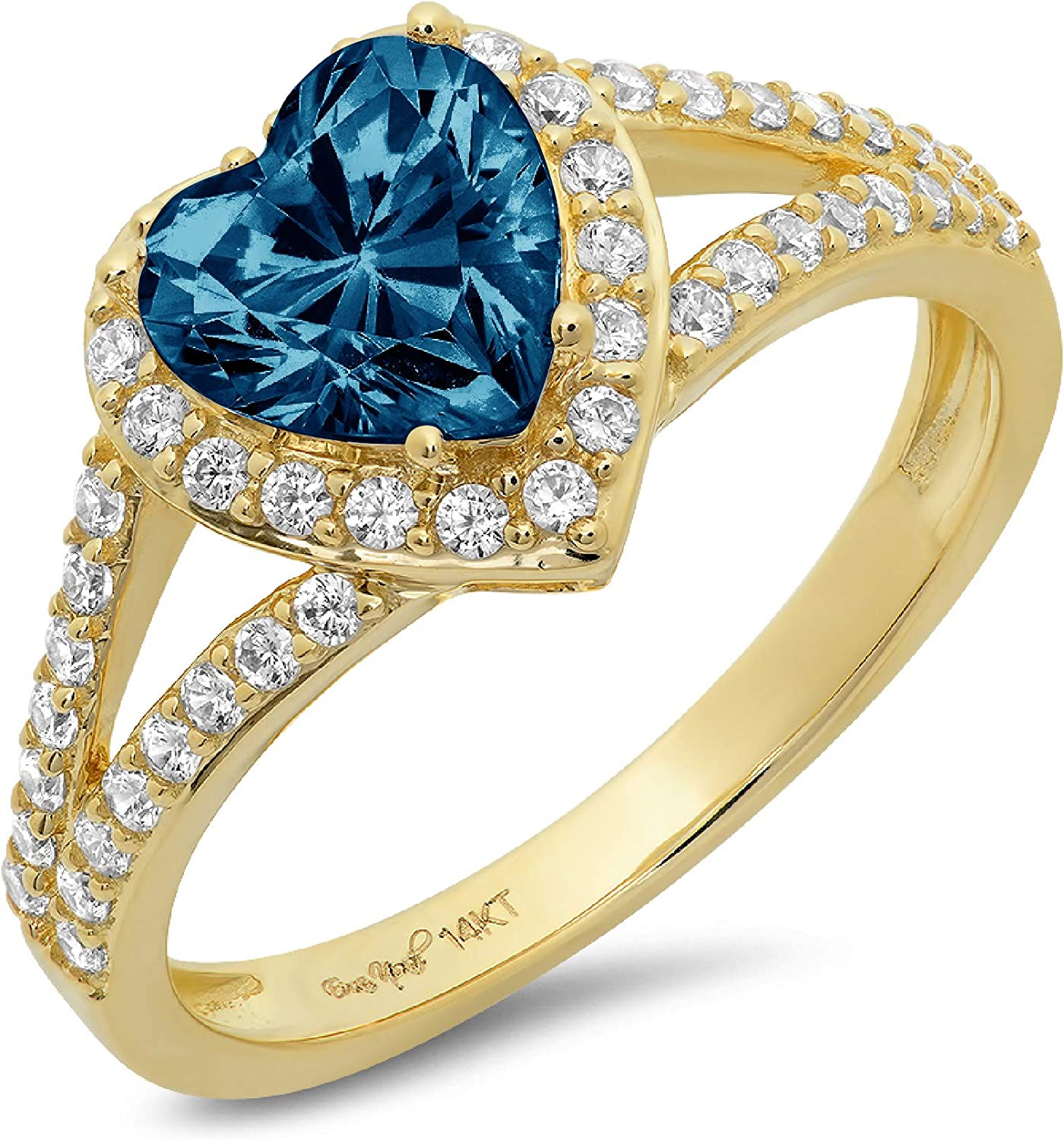 1.72ct Heart Cut Solitaire with Accent Halo split shank Natural London Blue Topaz Gem Stone VVS1 Designer Modern Statement Ring Solid 14k Yellow Gold Clara Pucci