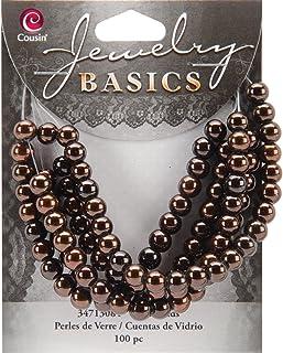 Cousin Jewelry Basics 100-Piece 6mm Round Metallic Bead, Brown
