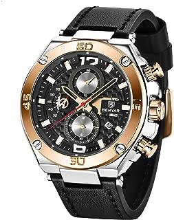BENYAR Men Watch Waterproof Chronograph Watches Analog Quartz Leather Band Wrist Watch for Men