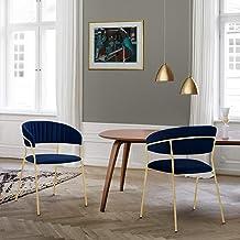 كراسي غرفة الطعام من آرمين ليفينج نارا الحديثة فيلفيت آند جولد ميتال للساقين - مجموعة من قطعتين، أزرق غامق