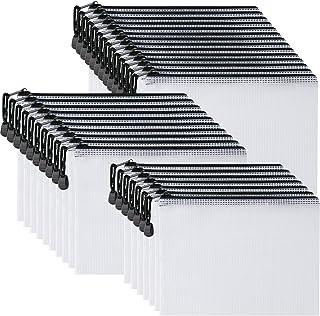 حقيبة بسحاب شبكية بلاستيكية 12.7 سم × 20.32 سم (أسود، 30 قطعة)، حقيبة بسحاب مقاومة للماء كبيرة للغاية لللوازم المكتبية الم...