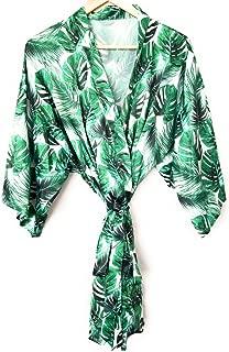 Ella Winston Tropical Palm Leaf Kimono Style Satin Getting Ready Bridesmaid Robe