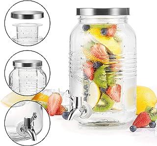 BERELA HOME - Tarro con Grifo Dispensador de Cristal de 3L. Dispensador de Bebidas con Filtro/Enfriador.