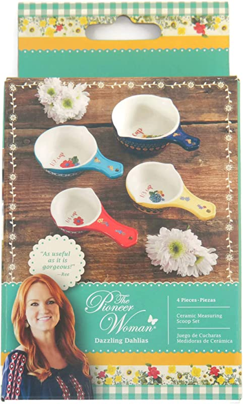 The Pioneer Woman Dazzling Dahlias Ceramic Measuring Scoops Cups Set Of 4