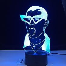 Cantante 3D Led Lámpara de mesa nocturna Ventiladores Decoración de la habitación Luz de noche Usb Led Colorido Acrílico 3D Luz de noche