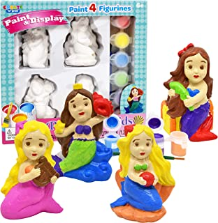 Paint Your Own Figurines, Decorate Your Own Mermaids Painting Kids Set, Includes 4 Mermaid Figurines, 6 Pots of Paint, Complete Plaster Craft Kit for Kids