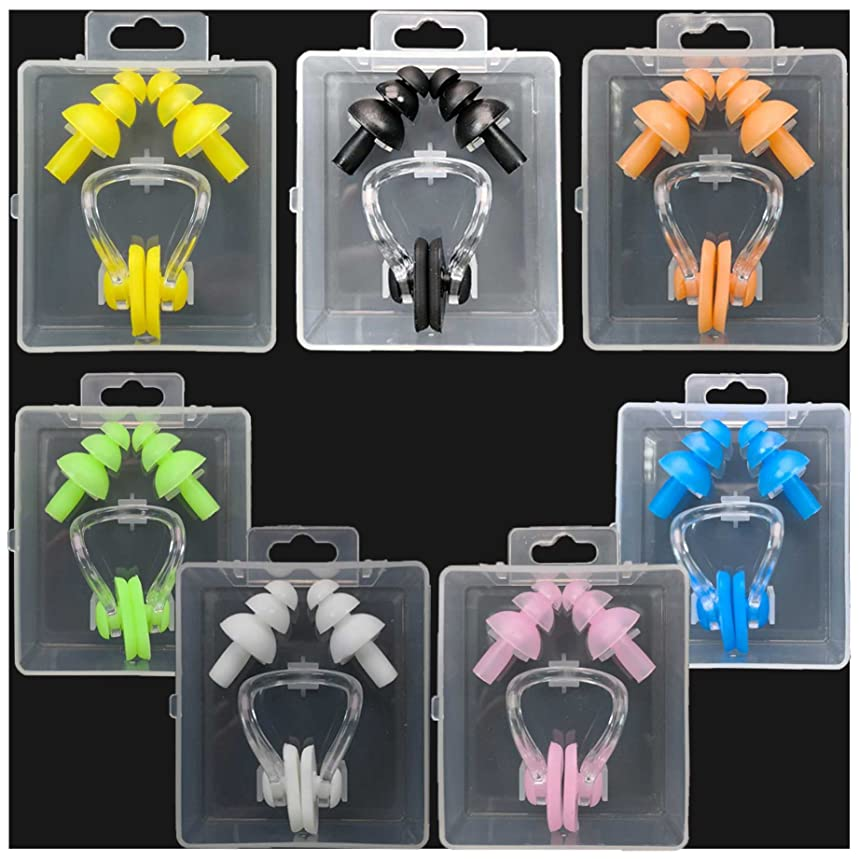Silicone Swimming Earplugs For Kids - 7 Swimming Ear Plugs And Nose Clip Sets, Waterproof Silica Gel Ear & Nose Protector Block Water Soft & Comfortable For Children Girls Boys Babies Toddlers