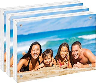 unum Clear Acrylic 4x6 Picture Frame Magnetic Floating Picture Frames/Photo Display Stands - Frameless Double Sided Photo Holder - 4 x 6 Inch Acrylic Block Frame for a Desk, Shelf or Table - 3 Pack