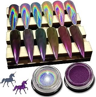 Holographic Nail Powder - [ 2 Jars ] Chrome Nail Powder, Premium Salon Grade Rainbow Unicorn Holographic Powder & Mirror Effect Multi Chrome Manicure Pigment, 0.04oz/ 1g Per Jar