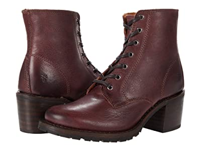 Frye Sabrina 6G Lace Up (Burgundy Waxed Veg Tan) Women
