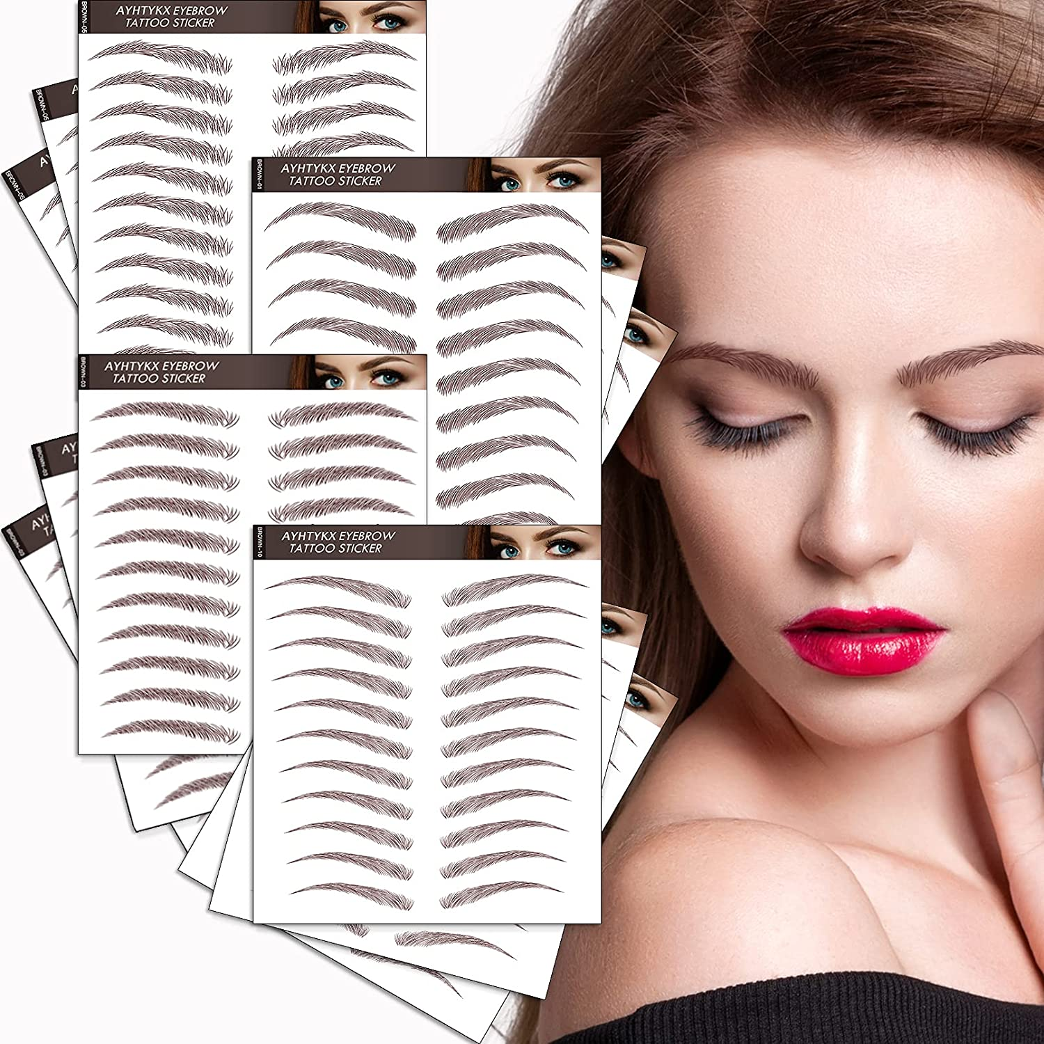 Eyebrows Tattoos 132 Super special price Pairs for Women Fake Ey Charlotte Mall Realistic 4D Tattoo