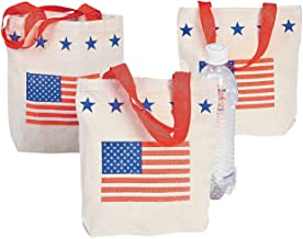 Fun Express - (sm Patriotic Canvas Tote Bags for Fourth of July - Apparel Accessories - Totes - Novelty Totes - Fourth of July - 12 Pieces