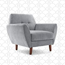 "Elle Decor 24"" Mid-Century Modern Amelie Arm Chair in Light Gray"