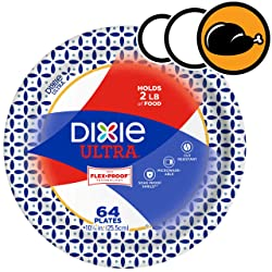 """Dixie Ultra Paper Plates, 64 Count, Dinner Size, 10 1/16"""" Inch Printed Disposable Plates"""
