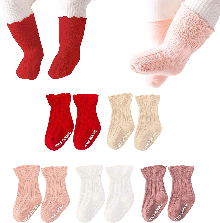 Toddler Newborn Non-Slip Ruffled Stockings Baby Girls Tube Socks