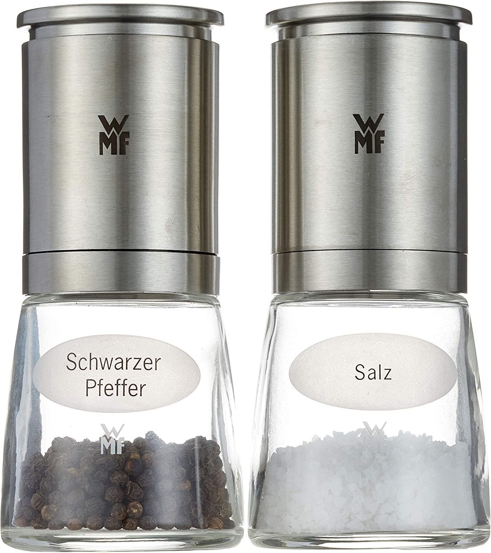 WMF Ceramill De Luxe Juego 2 molinillos de Sal y Pimienta, Acero Inoxidable Mate