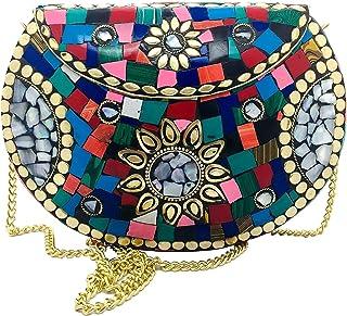Mano nupcial de las mujeres mosaico bohemio monedero étnico metal embrague multicolor perla dorado