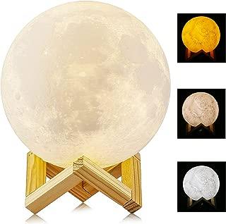 5.9 Inch 15cm 3D Printed Moon Light, ALED LIGHT Diameter Lunar Night Light Lamp Dimmable 3 Color Selectable Bedroom Decor USB Charging Mood Light for Bedroom Cafe Bar Dinning Room Valentine's Day