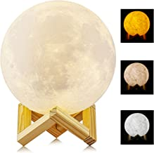 3D Printed Moon Light, ALED LIGHT 15cm LED Lunar Night Light USB Moon Lamp Table Desk Lamp Colors Changing Touch Sensor with Wooden Holder for Kids, Bedroom, Decoration (3 Colors)