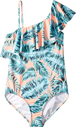 Native Jungle Ruffle Tank One-Piece (Little Kids/Big Kids)