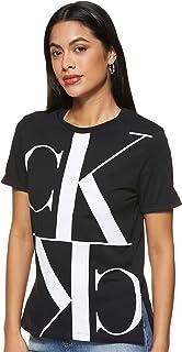 Calvin Klein Women's MIRRORED MONOGRAM STRAIGHT TEE S/S T-Shirt