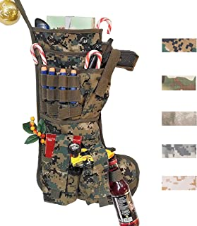 Beyond Your Thoughts New Tactical Christmas Stockings US Military with MOLLE Gear Webbing Durable Christmas Ornament for Family Decorations USMC Woodland (1 Pack)