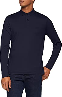 BOSS Pirol Long Sleeve Polo Shirt in Navy