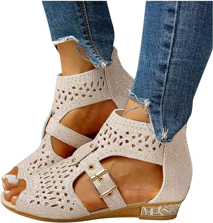 AODONG Sandals for Women Casual Summer,Womens Sandals Flat Strappy Sandals Casual Summer Beach Sandals Flip Flops Shoes
