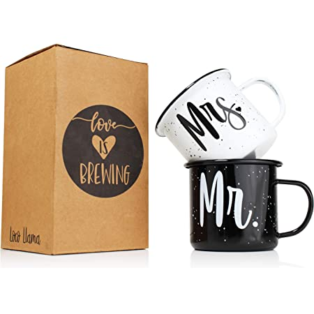 Mr and Mrs Mugs - Enamel Coated Stainless Steel Camping Mugs His and Hers