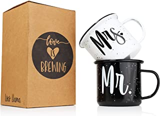 Sponsored Ad - Mr and Mrs Mugs - Enamel Coated Stainless Steel Camping Mugs His and Hers
