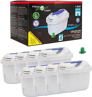 FilterLogic FL402H | Lot de 8 - Cartouche Filtrante compatible avec Brita Maxtra+ Plus Filtre à Eau pour Carafe fill&Enjoy...