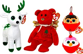 Ty Christmas Beanie Babies Boos Set -- Bundle Includes Christmas Bear Gift, Peppermint Reindeer, Gingerbread and Snowman Ornaments