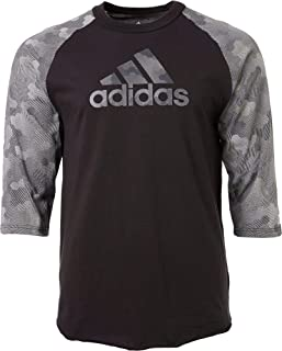 adidas Men's Triple Stripe Printed ¾ Sleeve Baseball Shirt
